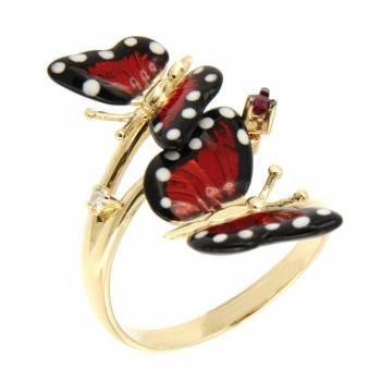 Золотое кольцо Roberto Bravo c бриллиантом, рубином  и цветной эмалью