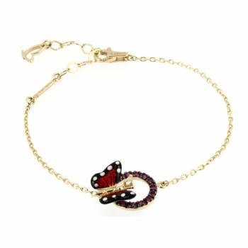 Золотой браслет Roberto Bravo с бриллиантом,сапфирами и цветной эмалью