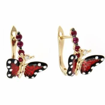 Золотые серьги Roberto Bravo c бриллиантами, сапфирами и цветной эмалью