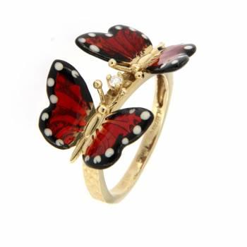 Золотое кольцо Roberto Bravo c бриллиантом и цветной эмалью