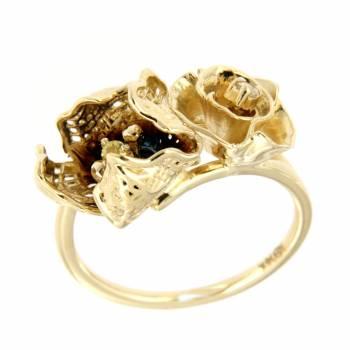 Золотое кольцо Roberto Bravo с бриллиантом и сапфиром