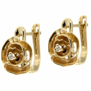 Золотые серьги  Roberto Bravo с бриллиантами