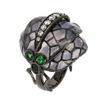 """Серебряное кольцо Roberto Bravo """"Nine3five"""" с кварцем и цветной эмалью"""
