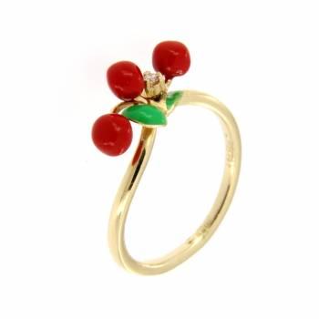 Золотое кольцо Roberto Bravo c бриллиантами и цветной эмалью