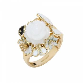 Золотое кольцо Roberto Bravo с бриллиантом,агатом и белой эмалью