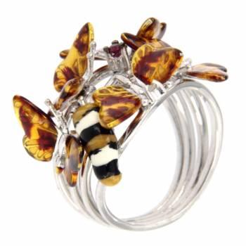 """Серебряное кольцо Roberto Bravo """"Nine3five""""с сапфиром и цветной эмалью"""