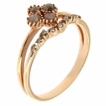 Золотое кольцо с алмазами и бриллиантами