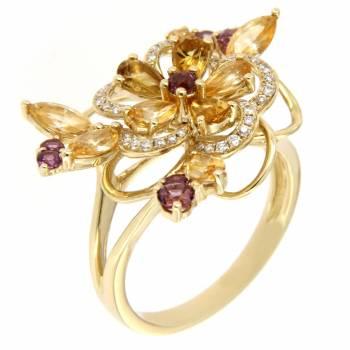 Золотое кольцо с бриллиантами,цитринами и аметистом