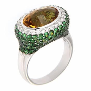 Золотое кольцо с бриллиантами,цитрином и зеленым гранатом