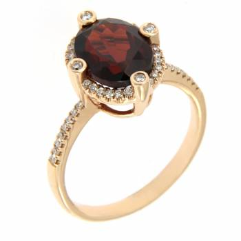 Золотое кольцо с бриллиантами и гранатом