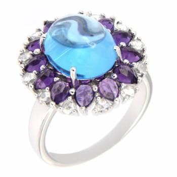 Золотое кольцо с алмазами,аметистами и топазом