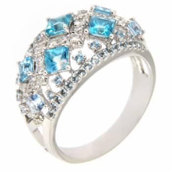 Золотое кольцо с бриллиантами и топазами