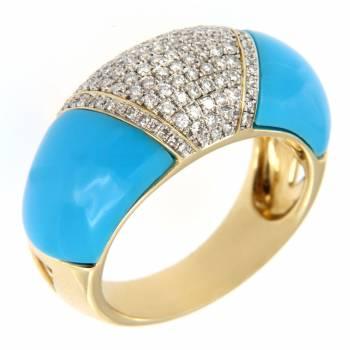 Золотое кольцо с бриллиантами и кварцем