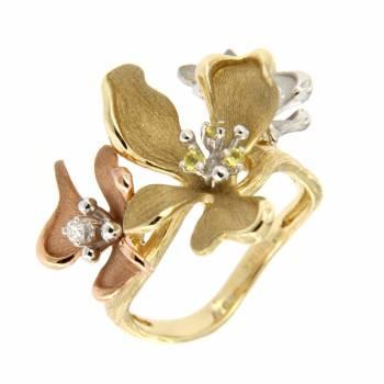 Золотое кольцо Roberto Bravo с бриллиантами и сапфирами