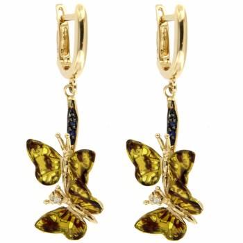 Золотые серьги Roberto Bravo с бриллиантами,сапфирами и цветной эмалью