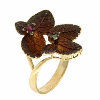 Золотое кольцо Roberto Bravo c cапфирами