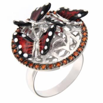 """Серебряное кольцо Roberto Bravo """"Nine3five"""" с фианитами и цветной эмалью"""