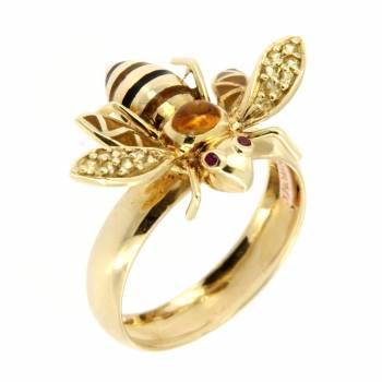 Золотое кольцо Roberto Bravo с сапфирами, кварцем и цветной эмалью