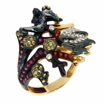 Золотое кольцо Roberto Bravo с бриллиантами , сапфирами и цветной эмалью