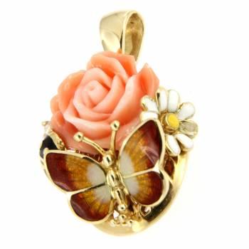 Золотой кулон Roberto Bravo c бриллиантом, кораллом и цветной эмалью