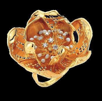 Золотое кольцо Roberto Bravo с бриллиантами и цветной эмалью