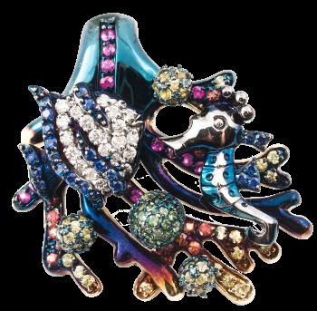 Золотой кулон Roberto Bravo с бриллиантами , сапфирами и цветной эмалью