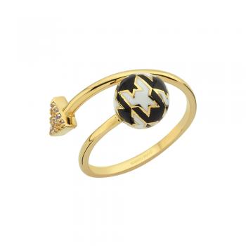 Золотое кольцо Roberto Bravo c лейкосапфирами и цветной эмалью