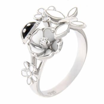 """Серебряное кольцо Roberto Bravo """"Nine3five"""" с фианитами и белой эмалью"""