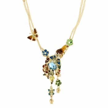 Золотое колье Roberto Bravo c бриллиантом, топазом и цветной эмалью