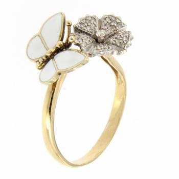 Золотое кольцо Roberto Bravo с бриллиантами и белой эмалью