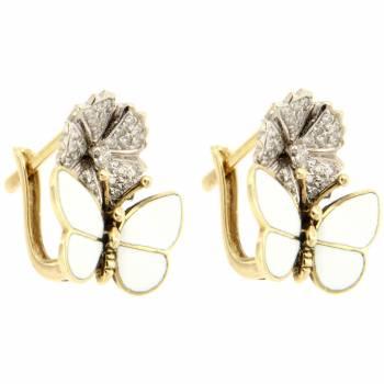 Золотые серьги Roberto Bravo с бриллиантами и белой эмалью