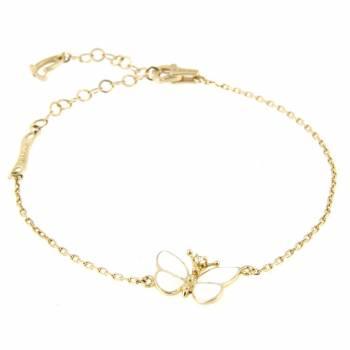 Браслет золотой Roberto Bravo с бриллиантом и белой эмалью