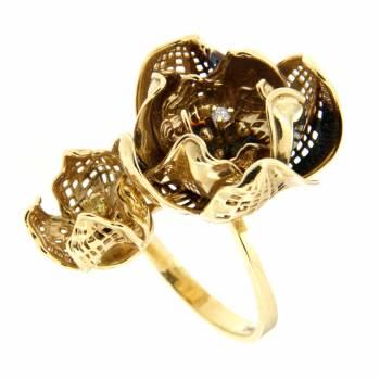 Золотое кольцо Roberto Bravo с бриллиантом и цитрином