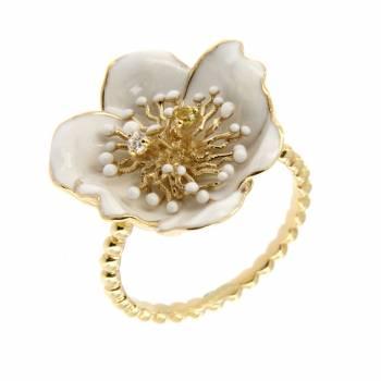 Золотое кольцо Roberto Bravo с бриллиантом, цитрином и белой эмалью