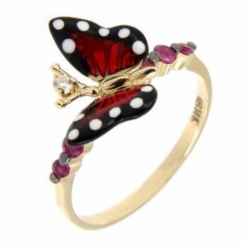 Золотое кольцо Roberto Bravo c бриллиантом, сапфирами и цветной эмалью