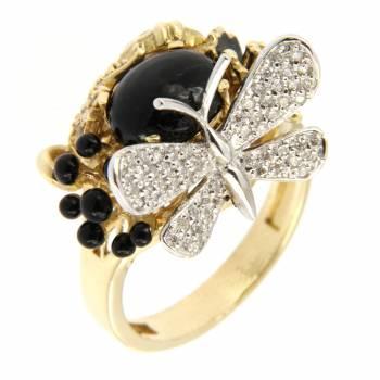 Золотое кольцо Roberto Bravo с бриллиантами, агатом и черной эмалью
