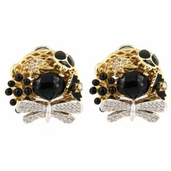 Золотые серьги Roberto Bravo с бриллиантами, ониксом и черной эмалью