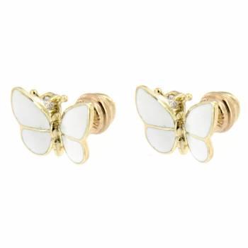 Золотые серьги Roberto Bravo c бриллиантами и белой эмалью