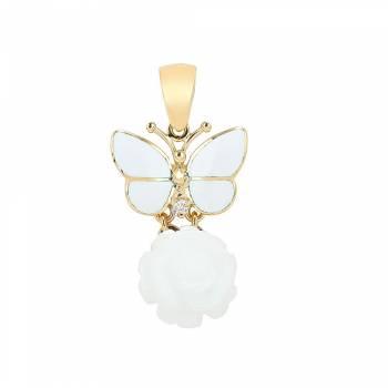 Золотой кулон Roberto Bravo с бриллиантами,агатами и белой эмалью