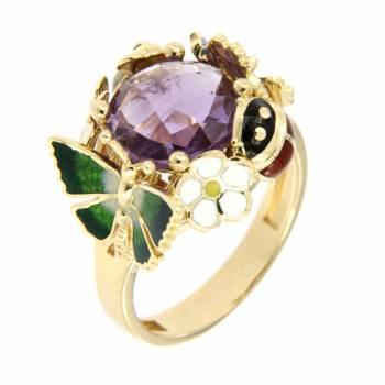 Золотое кольцо Roberto Bravo c бриллиантами, аметистом и цветной эмалью