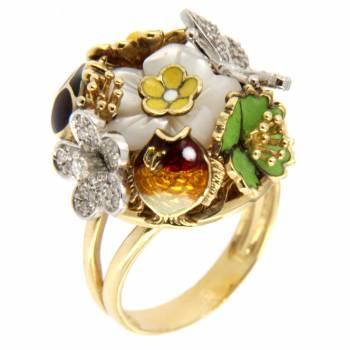 Золотое кольцо Roberto Bravo c бриллиантами, перламутром и цветной эмалью