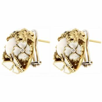 Золотые серьги Roberto Bravo с бриллиантами,агатами и белой эмалью