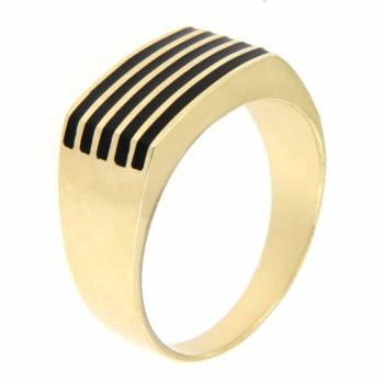 Золотой перстень с цветной эмалью