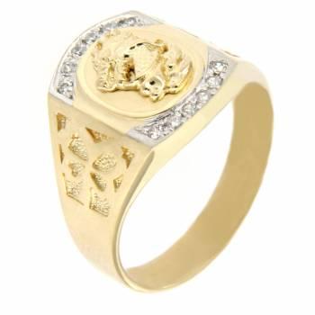 Золотой перстень с фианитами