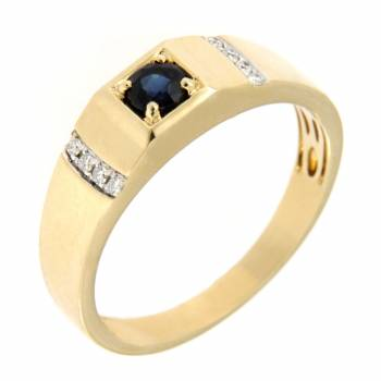 Золотой перстень с бриллиантами и сапфиром