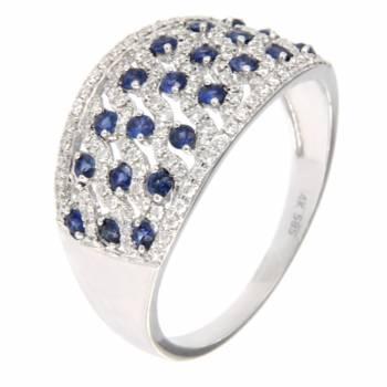 Золотое кольцо LUCI di GALA с бриллиантами и сапфирами