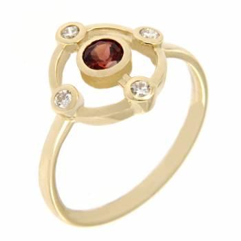 Золотое кольцо LUCI di GALA с бриллиантами и гранатом