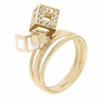 Золотое кольцо Roberto Bravo с лейкосапфирами и белой эмалью