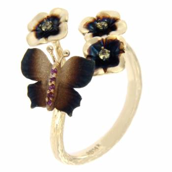 Золотое кольцо Roberto Bravo c лейкосапфирами и сапфирами