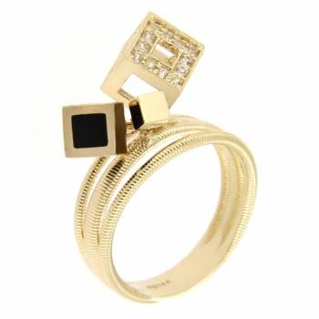 Золотое кольцо Roberto Bravo с лейкосапфирами и черной эмалью